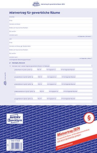 AVERY Zweckform 2874 Mietvertrag (für gewerbliche Räume, A4, selbstdurchschreibend) 5 Stück blau