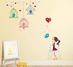 Amazon Brand - Solimo Wall Sticker for Kid's Room (Playtime with Birds, Ideal Size on Wall - 130 cm x 140 cm)