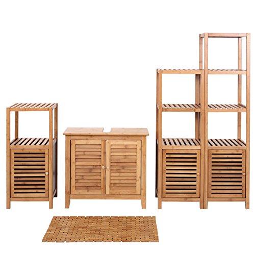 Mendler Badezimmerset HWC-B18, Komplett Badezimmer Badmöbel Badset Badschrank mit Tür, Bambus