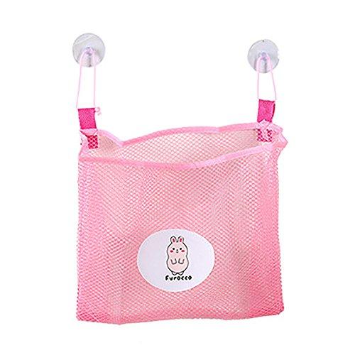 Pnizun - Baby-Kind-Bad-Zeit Tidy Lagerung Spielzeug Saugnapf Tasche Mesh-Badezimmer Organizer Net 25x26cm Toilettenartikel Waschlappen Reinigungskugeln [Rosa ] (Mesh-waschlappen)
