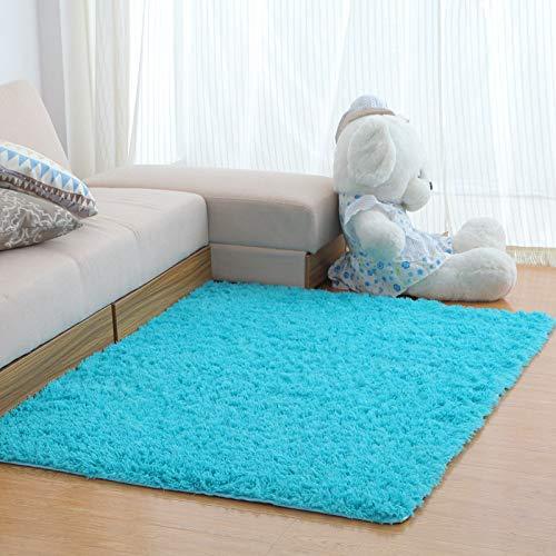 YIWAN Rutschfester, saugfähiger, waschbarer, weicher, schnell trocknender, moderner, seidiger Teppich, kurzhaarig, himmelblau, 80 * 120 cm -