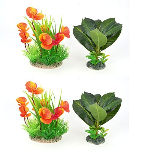 Aquarium Aquascaping Water Plant Ornament 7,1-inch 4 stuks Oranje Groen