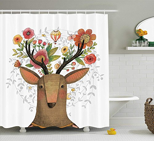 Antlers Decor Collection, Deer with Blossoms Bouquet Butterfly Hot Air Balloon Springtime Cartoon Art Print, Polyester Fabric Bathroom Shower Curtain, 60x72 Inches Extra Long, Green Orange Pink (Balloon Butterfly Air Hot)