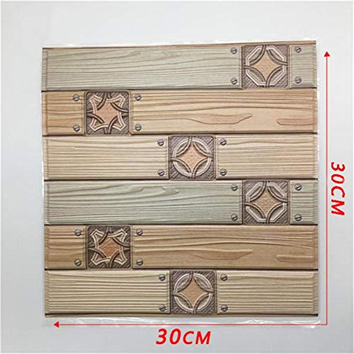 5 UNIDS Extraíble Textura de madera 3D Azulejo Retro Etiqueta de la...
