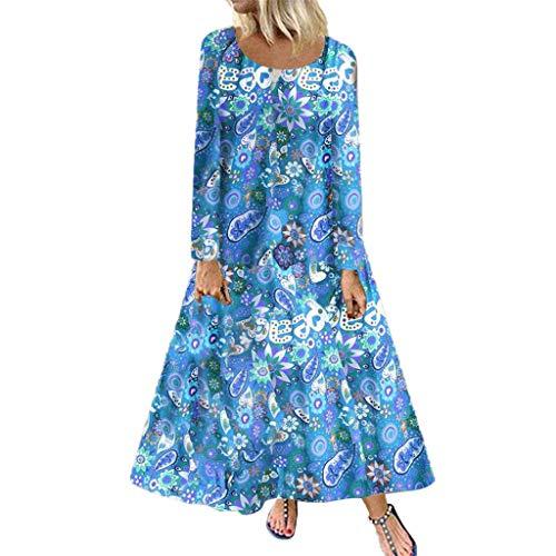 OHQ Kleider Damen Blumen Kleid Elegant Langarm Maxikleid Floral Print Böhmischen Strand Maxi Kleid Casual O-Ausschnitt Vintage Lange Beach Kleider A-Linie Party Strandkleid