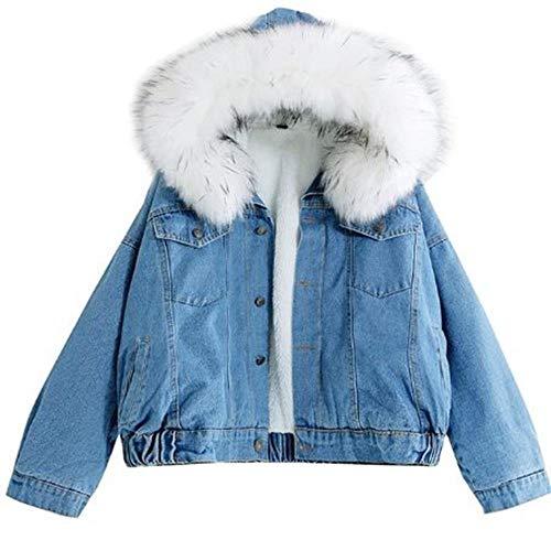 ZYH994 Damen Jeansjacke mit Fell Winter Jeans Kapuzen Samt Mantel Damen Pelz Pelzkragen Gefüllte Warme Jacke Bomber Windbreaker, L