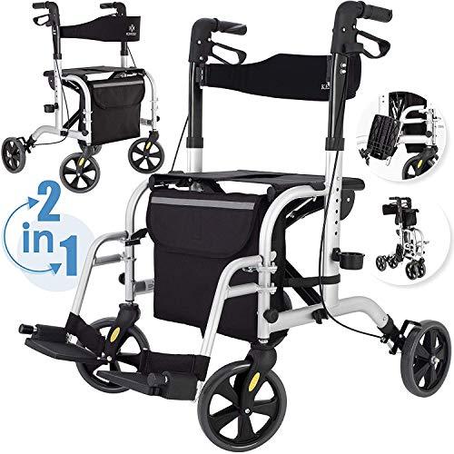 KESSER 2in1 Rollator und Rollstuhl Aluminium Set, Leichtgewicht-Reiserollator mit Vollausstattung, klappbar für Kofferraum Reise und Flug, Höhe verstellbar,Stockhalter Gehwagen Laufhilfe Gehhilfe