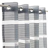 Melody Ösenschal Gardine Streifen glänzend Vorhang grau 140x245cm #9020
