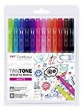 Tombow WS-PK-12P-1 Twintone Marker Set 12-Pack, Dual-tip, Bright