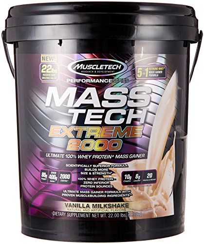 MuscleTech Mass Tech Extreme Vanilla Milkshake Weight Gainer, 22 Pound - 51htMT3%2BgHL