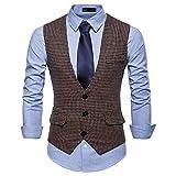 Herren Plaid Casual Weste Karo Houndstooth Anzugweste Wolle 3 Taschen 3 Knöpfe Fashion Vest Swallow Gird (Khaki, L)