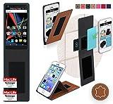 reboon Hülle für Archos Diamond 2 Note Tasche Cover Case Bumper   Braun Leder   Testsieger