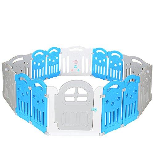 LCP Kids Baby Laufstall Laufgitter - viele Aufbauvarianten - Türschloss aussen - XL Mehrfarbig