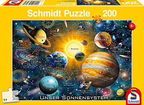 Schmidt Spiele Puzzle 56308 Unser Sonnensystem, 200 Teile Kinderpuzzle, bunt (100-teilig Tier-puzzle)