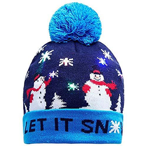 UFODB Christmas Caps Herren Damen Unisex Beleuchten Bunte Lichter Weihnachten Cap LED Light-Up Gestrickter Hässlicher Pullover Holiday Xmas Beanie