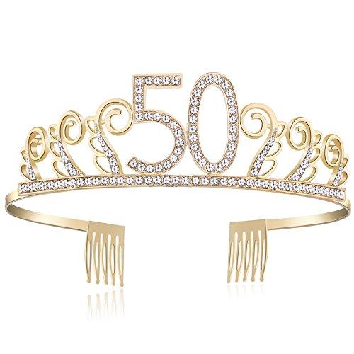 BABEYOND Kristall Geburtstag Tiara Birthday Crown Prinzessin Geburtstag Krone Haar-Zusätze Rosa oder Silber Diamante Glücklicher 18/20/21/30/40/50/60/90 Geburtstag (50 Jahre alt Gold) (Rosa Und Gold Prinzessin Kostüm)