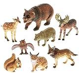8 Stück Tierfiguren Alpentiere für Bauernhof Zoo mit Bär Hirsch uvm