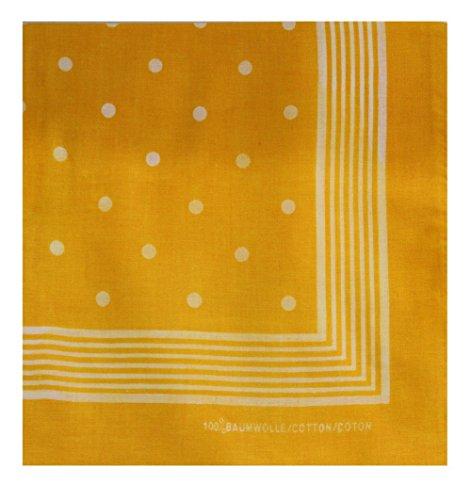 uch Kopftuch Bandana mit Punkte für Damen und Herren Halstuch aus 100% Baumwolle Farbe Gelb Grösse 55 cm x 55 cm ()