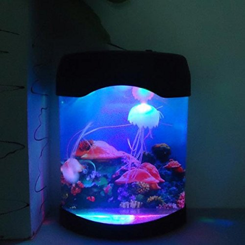 Aliciashouse Acuario Medusa de simulación fondo lámpara de noche