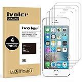 ivoler [4 Pack] Pellicola Vetro Temperato per iPhone SE / 5S / 5 / 5C [Garanzia a Vita], Pellicola Protettiva Protezione per Schermo per iPhone SE / 5S / 5 / 5C - Transparente