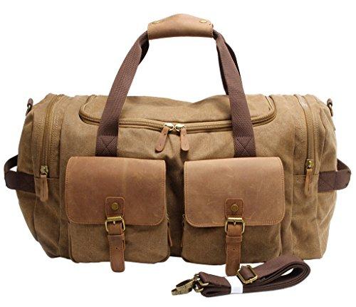 FAIRY COUPLE Unisex Canvas Handtasche Gepäck Tasche für Reise Laptop Ausflug Camping Messenger Tasche Schultertasche C3016,kaffee kaffee