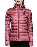 Damen Stehkragen Große Größe Leicht Daunenjacken Pink 3XL