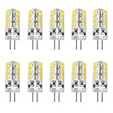 Ralbay 10er Pack2.5W G4 LED Lampen, Ersatz für 20W Halogenlampen, Warmweiß, 3000K, 2835 SMD Kieselgel LED Dekorative Leuchten, LED Birnen, LED Leuchtmittel, DC 12V
