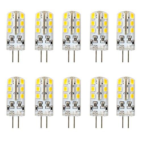 10w Ersatz (Ralbay 10er Pack2.5W G4 LED Lampen, Ersatz für 20W Halogenlampen, Warmweiß, 3000K, 2835 SMD Kieselgel LED Dekorative Leuchten, LED Birnen, LED Leuchtmittel, DC 12V)