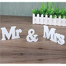 MR & MRS Letras de madera de la boda decoración de la tabla Presente blanco(Mr&Mrs1)