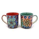 Tasse Kaffeetasse Teetasse Geschirr Keramik Bemalt Bunt Set/2 - Gall&Zick