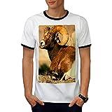 Sauvage Chèvre Montagne Animal Haute Terre Animaux Homme L T-shirt à sonnerie | Wellcoda