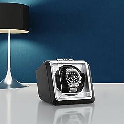 Klarstein 8PT1S Watch Display Box (Watch Winder & Ultra-Quiet Motor) - Black / Silver