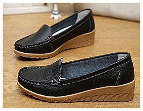 NEWZCERS Chaussures confortables en cuir de vachette pour femmes en mocassin Noir