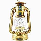 Original DIETZ Sturmlaternen-SET Petroleumlampe, Messing poliert, Höhe 254 mm, mit 1 Liter Petroleum und Docht