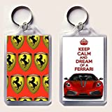 "KEEP CALM and DREAM of A FERRARI keyring printed on an image of a red Ferrari F430 on one side and iconic Ferrari rampant horse badges on the other, from our Keep Calm and Carry On series - an original ""sorry I couldn't get you the real thing"" Father's Day or Birthday Gift Idea."