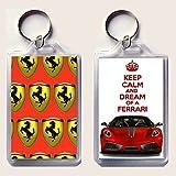 """Schlüsselanhänger, Aufschrift """"Keep Calm and Dream of a Ferrari"""", Bild roter Ferrari F430 auf einer Seite, Ferrari-Logo auf der anderen Seite, aus der """"Keep Calm and Carry On""""-Serie, für Vatertag, Geburtstag"""