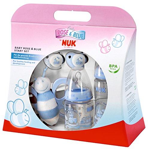 NUK Starter Set, First Choice Plus Babyflasche, Schnuller und Schmetterlingsrassel in attraktiver Geschenkverpackung, 0-6 Monate