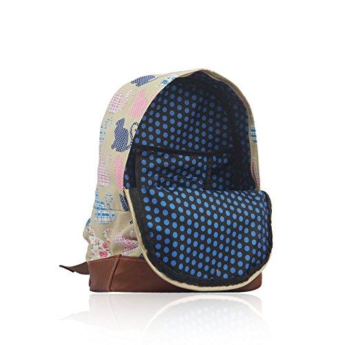 HB Style - Borsa a Zainetto donna Unisex bambina uomo bambino Beige