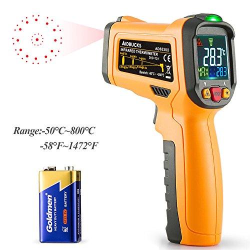 Termómetro Digital Infrarrojo Láser Janisa AD6530B Temperatura -50℃ a 800℃ Ambiental Digital Hogar Cocina Sonda Pistola de 12 Puntos Alarma de Temperatura Exhibición del Color Gran Pantalla LCD
