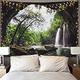 Tapisseries décoratives Tapisserie murale Motif arbre coloré Oiseaux Décoration pour salon ou chambre(153x130cm)