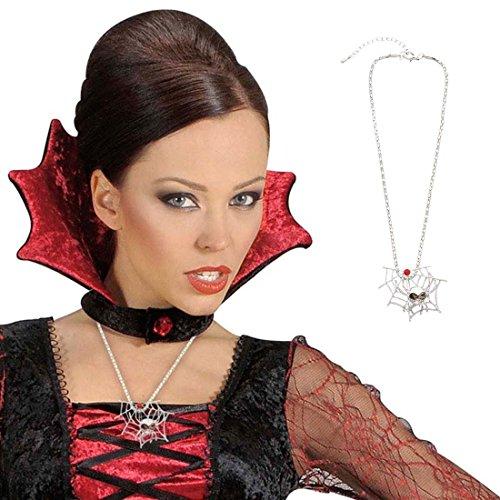 Spinnen Kette Hexen Halskette silber Spinnweben Anhängerkette Spinnennetz Necklace Collier Gothic Vampir Schmuck Halloween Kostüm Accessoire
