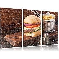 Cheeseburger con patatine fritte Bunstift effetto immagine Canvas 3 PC 120x80 immagine sulla tela, XXL enormi immagini completamente Pagina con la barella, stampa artistica su murale cornice gänstiger come la pittura o un dipinto ad olio, non un manifesto o un banner,
