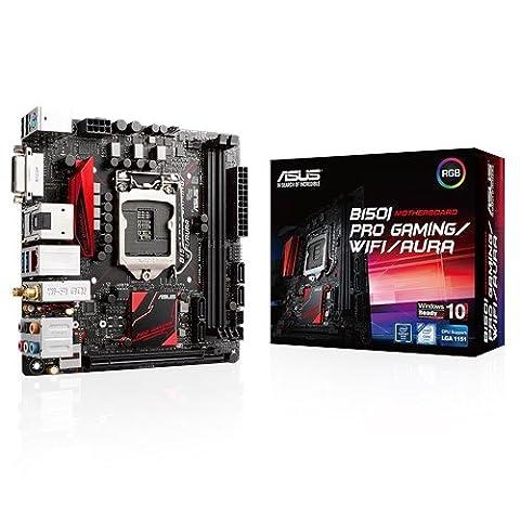 Asus B150I-Pro Gaming/WiFi/Aura Mainboard Sockel 1151 (Mini-ITX, Intel B150, 2x DDR 4 Speicher, 4x SATA 6Gb/s, 1x USB 3.1, 2x USB 3.0, 2x USB 2.0, PCIe 3.0, RGB)