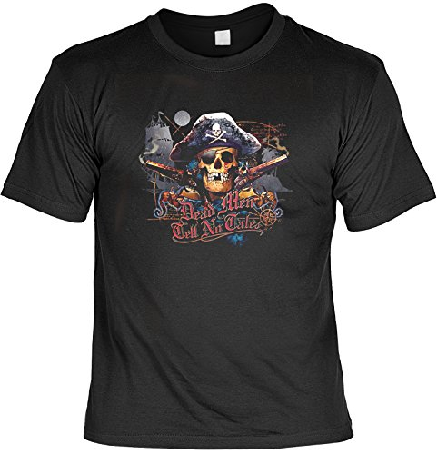 Biker Shirt /T-Shirt/Baumwoll-Shirt lässiger Seeräuber-Aufdruck: Skull Pirat - cooles Totenkopf- Motiv Schwarz