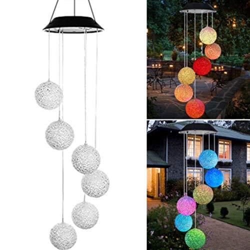 DIKHBJWQ Solarbetriebene Windspiele Licht LED Garten hängen Spinner Lampe Farbwechsel (Lichterkette/Light/Tischlampe/Nachttischlampe/Nachtlicht)
