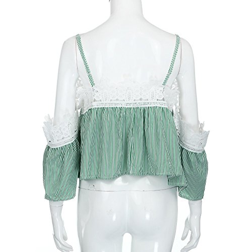 Longra Donna T-shirt a righe in pizzo Verde