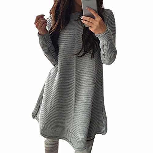 Col rond manches longues Bar Robe rayee coton femmes Casual Robes sexy Gris