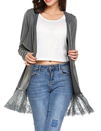 Beyove Damen Strickjacke Cardigan Bolero Strickmantel Kimono Pullover Blazer Jacke (EU 42(Herstellergröße: XL), (Z) Grau)