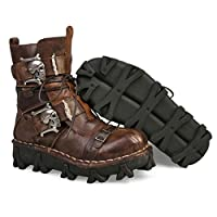 Lorie & Knight Mens Brown Genuine Leather Military Army Boots Gothic Skull Punk Motorcycle Martin Boots (11)