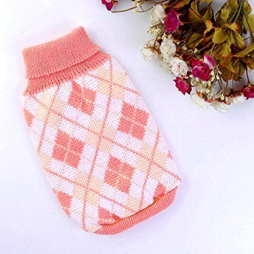 kimberleystore Elegant und Graceful Argyle Muster Knit Rollkragen Pet Dog Pullover Tuch (Rosa, (Kostüm Pet Muster)